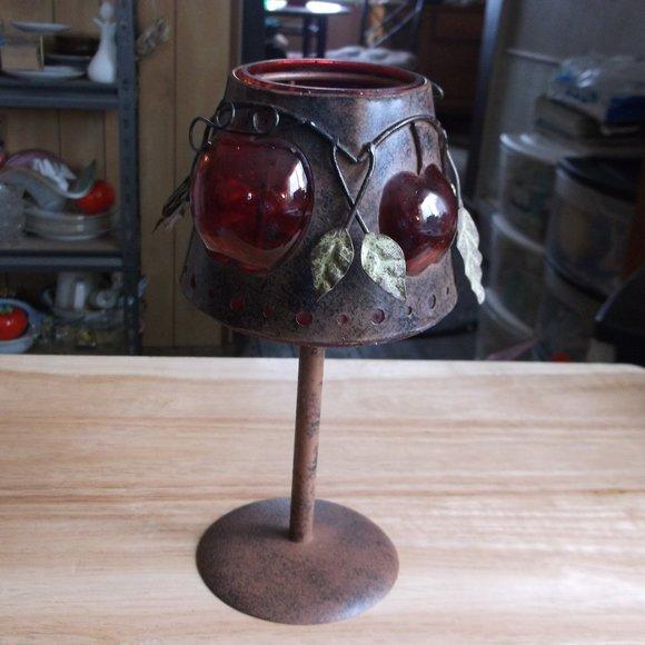 copper & glass candle holder apple design